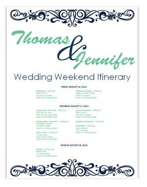 Bridetodo Has A Ton Of Pretty Itinerary Templates That Are Perfect Wedding Templatewedding Weekend Itinerarydestination