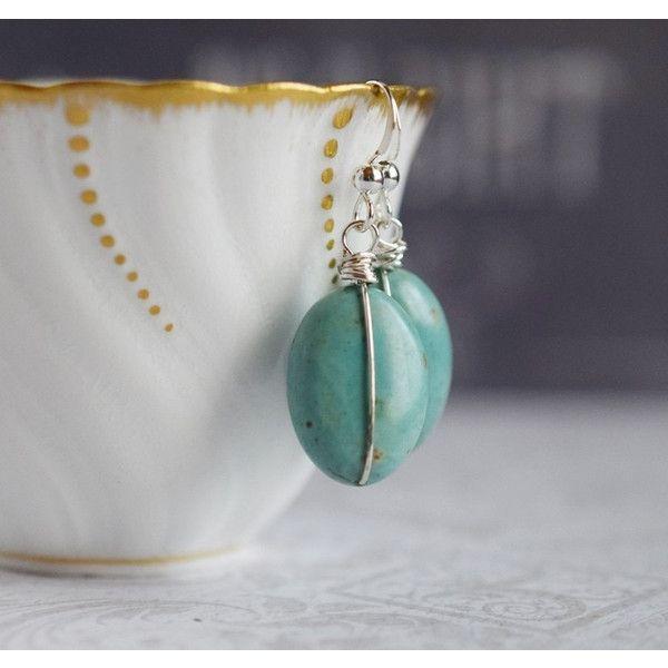 Filo avvolto orecchini di turchese verde orecchini turchese pietra... (€26) ❤ liked on Polyvore featuring accessories