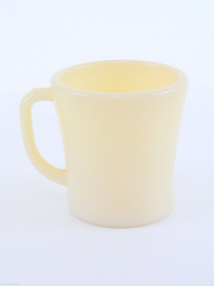 Vintage Fire King D Handle Coffee Mug Ivory Milk Gl Flat Bottom 1940s Or 50s Fireking