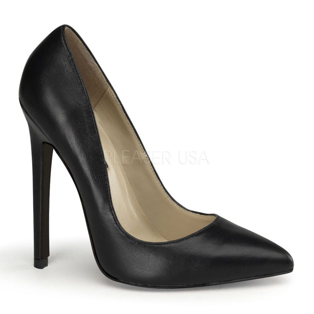 PLEASER Sexy-20 Hohe schwarze Leder Pumps mit 13 cm High Heel Absatz ... d46c092a7b