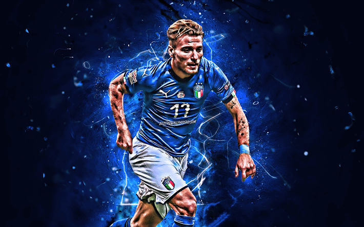 Download wallpapers Ciro Immobile, goal, abstract art, Italy National Team,  soccer, footballers, Immobile, neon lights, Italian football team  besthqwallpapers.c… | Soccer, Football team, Football