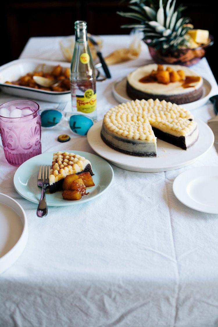 Hawaiian chantilly cake with caramelized pineapple cake