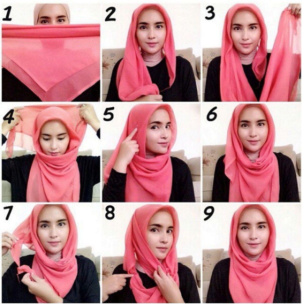 tutorial hijab segi empat | kerudung in 2018 | pinterest | hijab