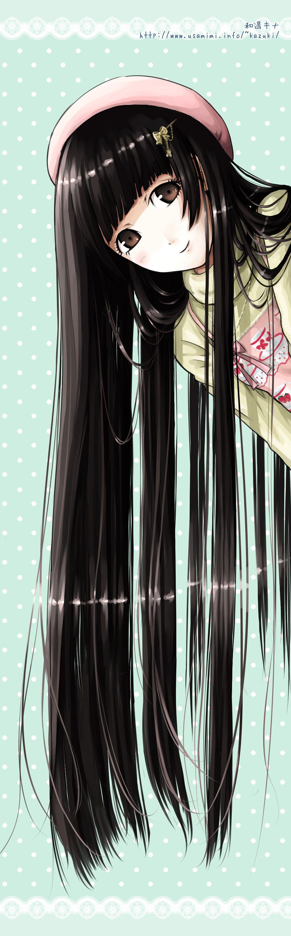 Looooong Straight Black Hair With Straight Bangs Original Illustration By Kazuharu Kina Anime Anime Artwork Manga Drawing