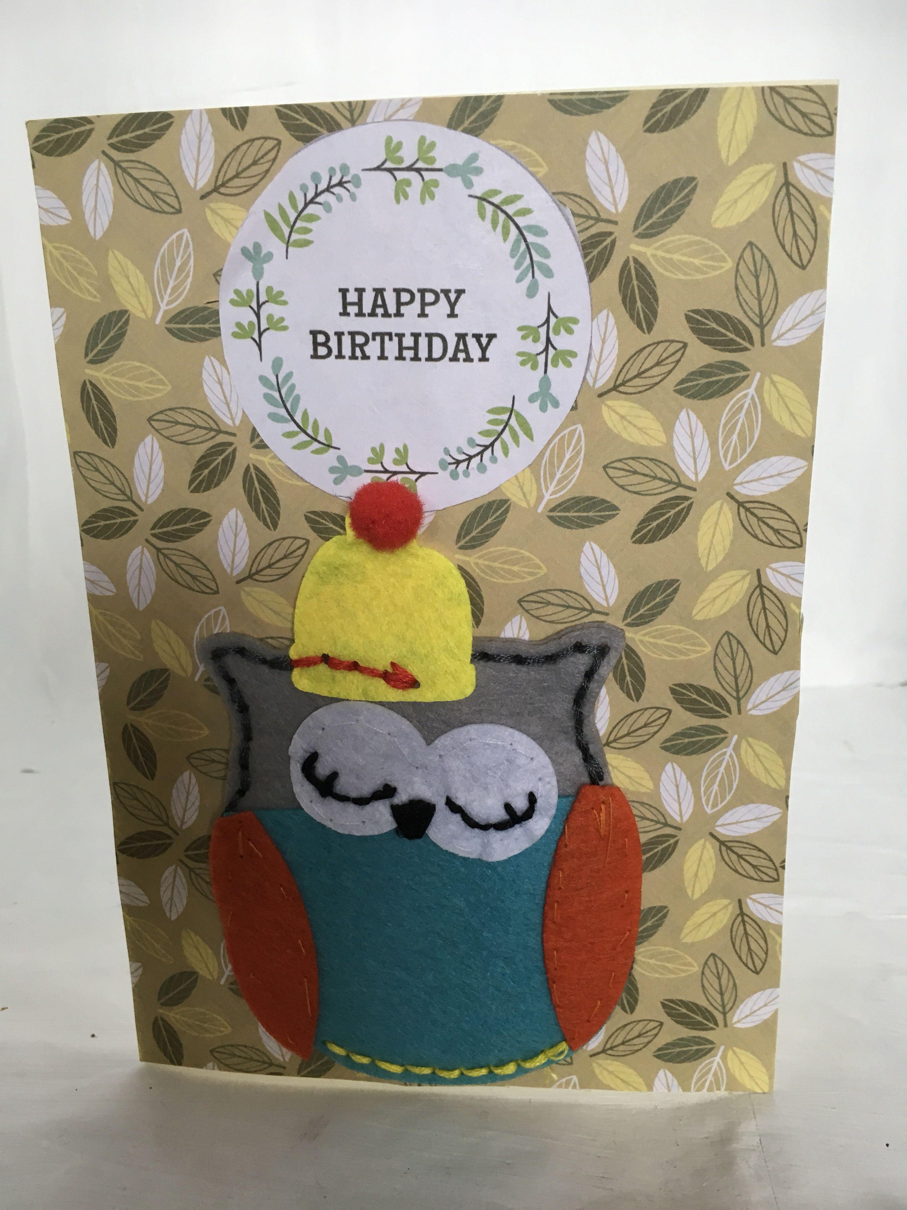 Felt Sew Good Owl Birthday Card Greeting Cards Pinterest Felting