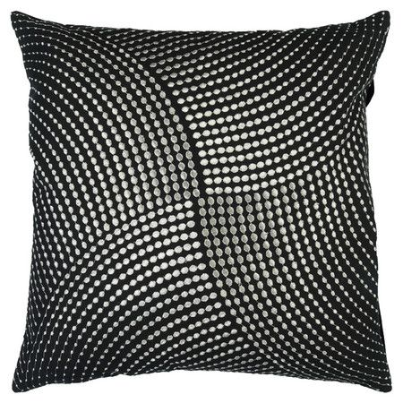 Showcasing a black cotton cover and swirling geometric motif, this eye-catching pillow brings a touch of understated glamour to your living room or master su...