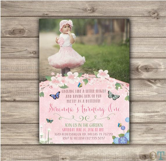 Butterfly Garden Birthday Invitations Printable First Shabby Chic Boho Theme Rustic Woodland Bbq Park Picnic Vintage NV5104