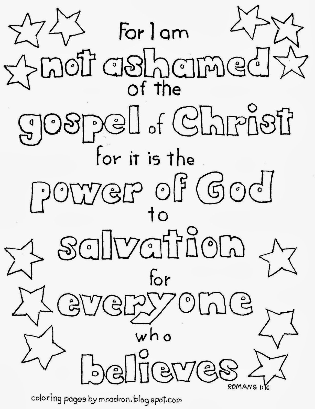 I Am Not Ashamed Of The Gospel Kid S Coloring Page