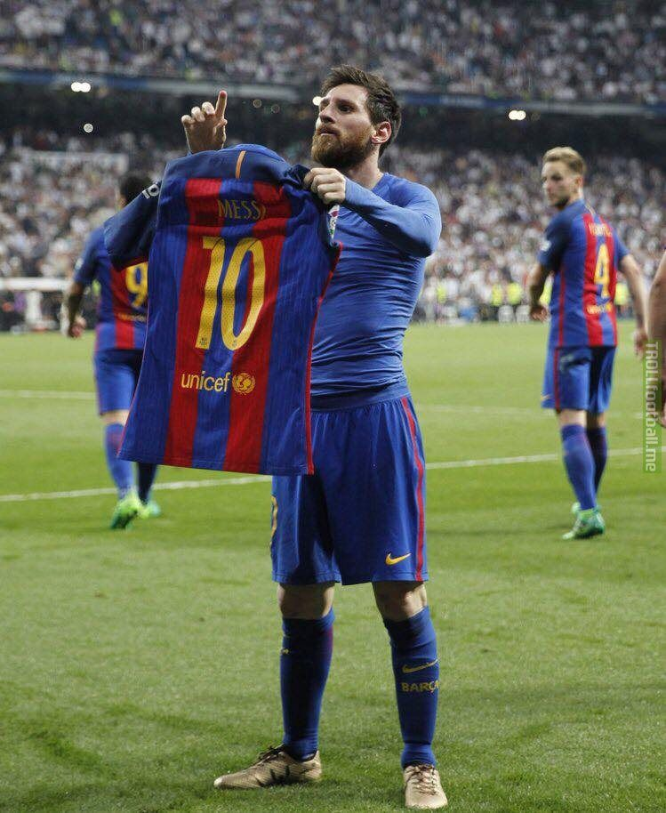 The Image Messi S Iconic Celebration Vs Real Madrid Front View Was Posted By Dailyfail On 24 April 2017 Click Here T Lionel Messi Messi Shirt Messi Vs