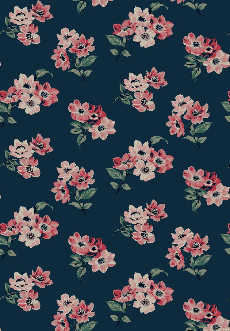 A Navy Print Featuring Pink Flowers A Classic Cath Kidston Floral