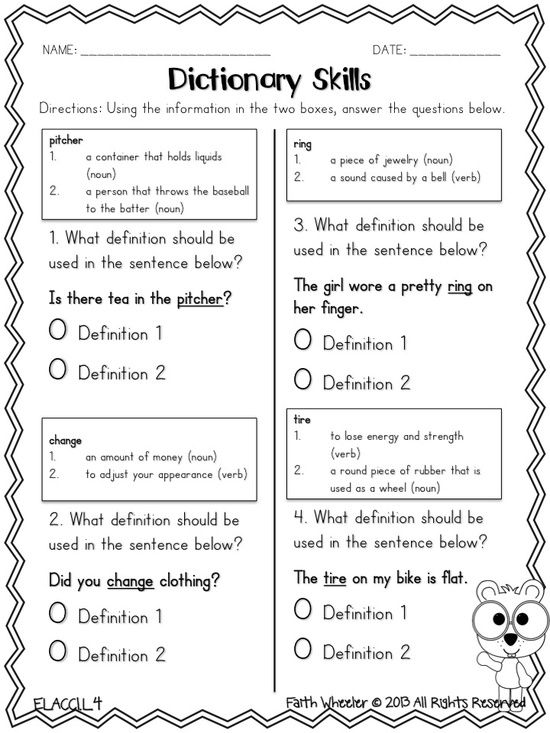 Dictionary Skills Freebie Dictionary Skills Library Skills Dictionary Activities Dictionary skill worksheets 3rd grade