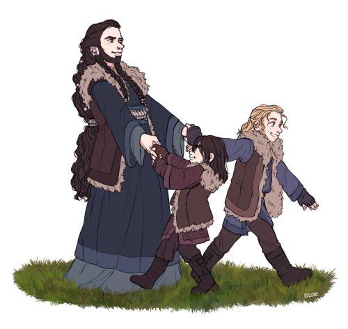 Princess Dis and her Children Fili and Kili | Hobbits and