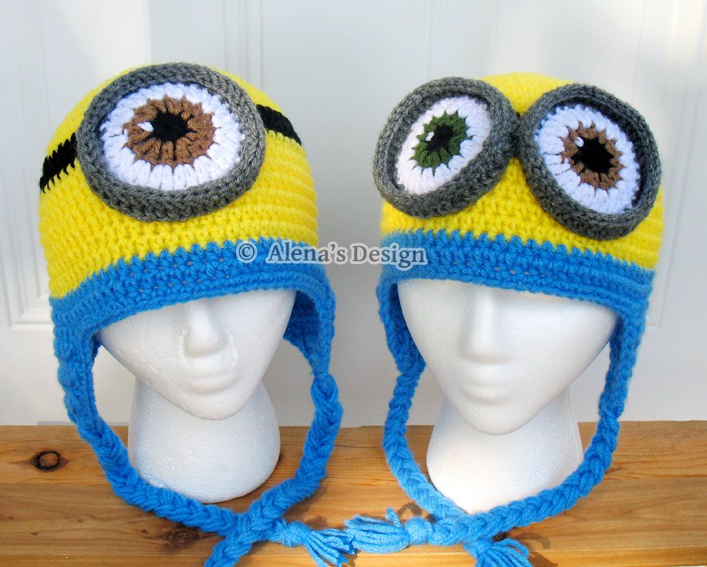 Crochet Pattern 200 Crochet Hat Pattern Minion Hat Ear Flap Hat ...