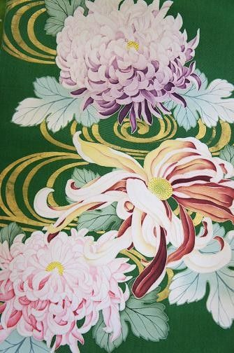 kimono fabric painted chrysanthemum verdure et caillou pinterest art japonais asie et. Black Bedroom Furniture Sets. Home Design Ideas