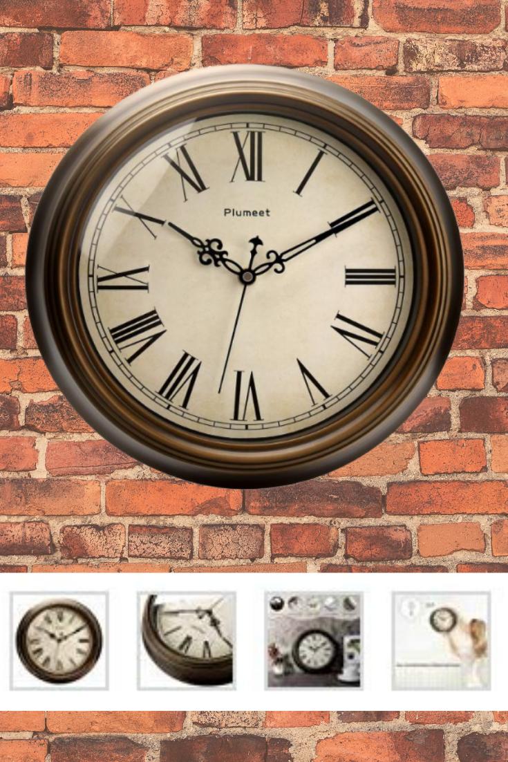 Plumeet Large Retro Wall Clock 13 Non Ticking Classic Silent Clocks Large Retro Wall Clock Retro Wall Clock Wall Clock