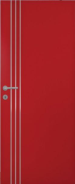 Porte intérieure contemporaine à peindre 3 inserts verticaux alu