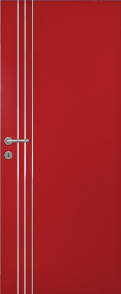 porte int rieure contemporaine peindre 3 inserts verticaux alu laquage ral 3001 portes. Black Bedroom Furniture Sets. Home Design Ideas