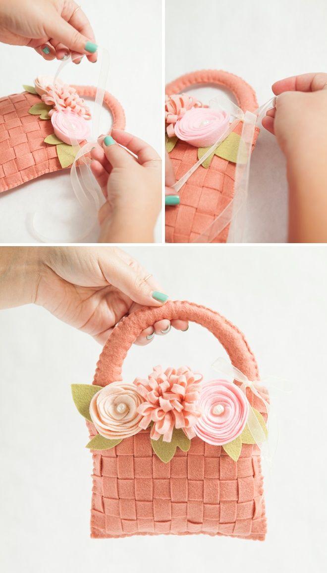 DIY Felt Flower Basket For Your Girl