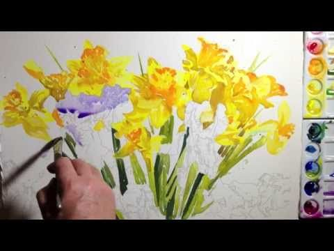 Blue Irises with Daffodils