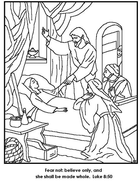Jesus Restores Jairus Daughter To Life Coloring Page With Images