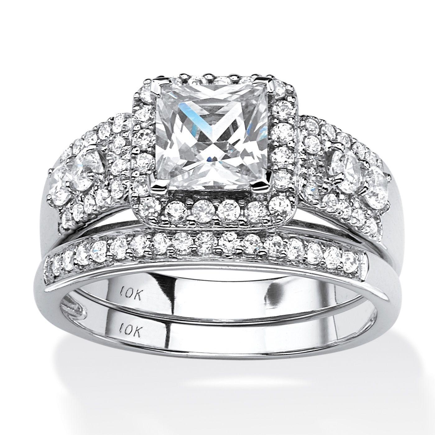 10K White Gold Cubic Zirconia Bridal Ring Set Bridesmaid