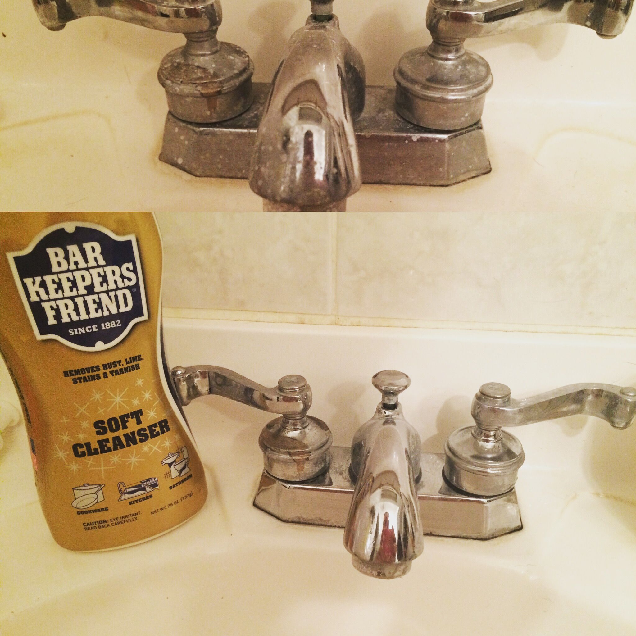 Bar Keepers Friend Will Remove Hard Water From Chrome Fixtures