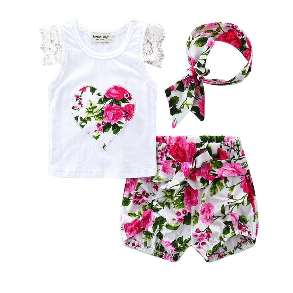 Détails sur Vêtement Ensemble Bébé Fille Haut Shorts Florale