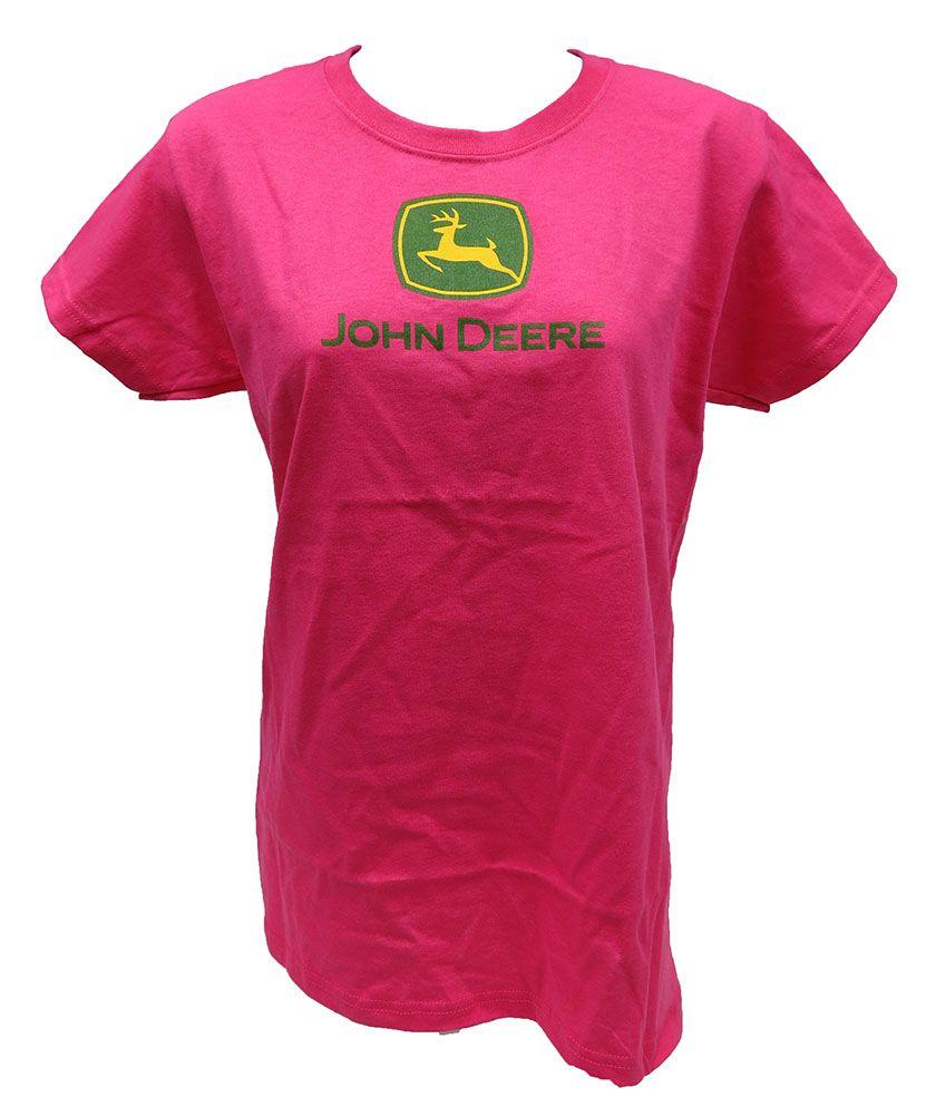 Ladies Hot Pink John Deere Logo Tee Shirt | Women John Deere ...