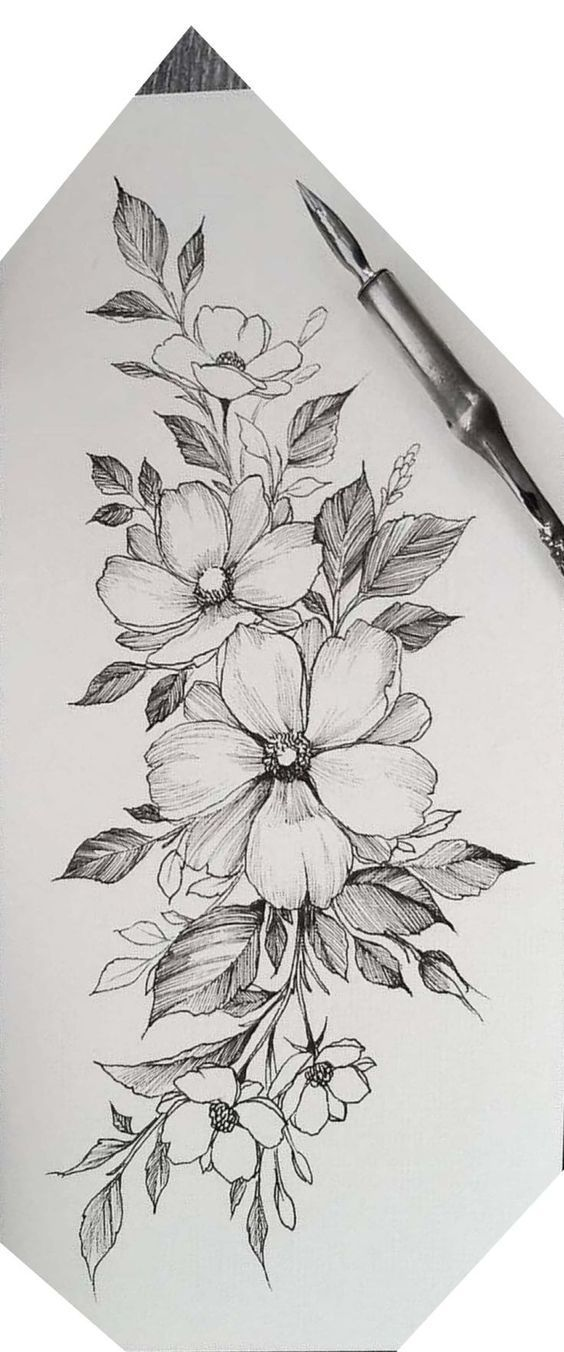 Drie grote Cherokee Rosebuds – een voor mam, Nick en Aaron #bloemtattoos bloem tattoo ontwerpen #tattoostyle – tattoo-stijl
