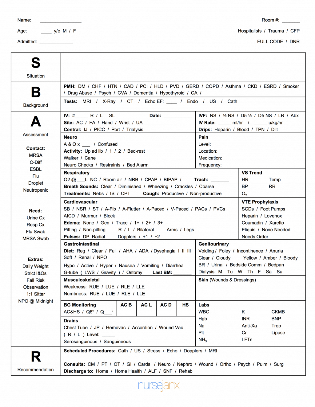 This Free Full Size Sbar Nursing Report Sheet Is Very