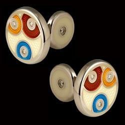 Pierrette Collection Cufflinks  Sterling Silver and finished in Guilloche and Hard Enamel Set with 4 Diamonds Hand Crafted in England