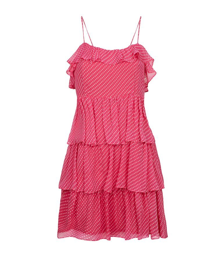 Claudie Pierlot Woman Ruffle-trimmed Jacquard Dress Pink Size 38 Claudie Pierlot