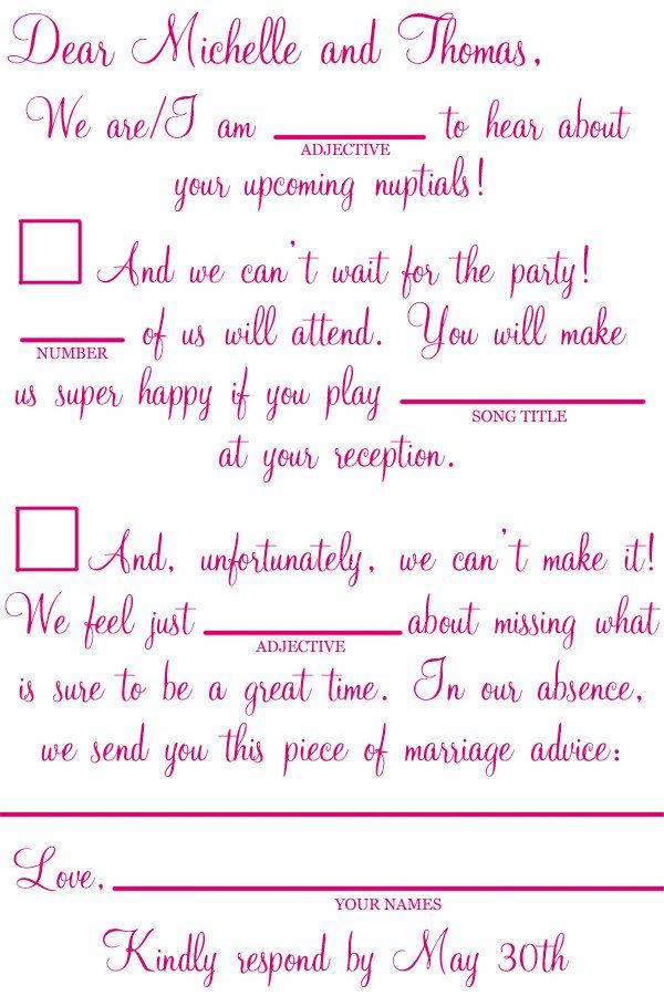 Custom Printable Wedding Mad Lib Rsvp Letter  Via Etsy