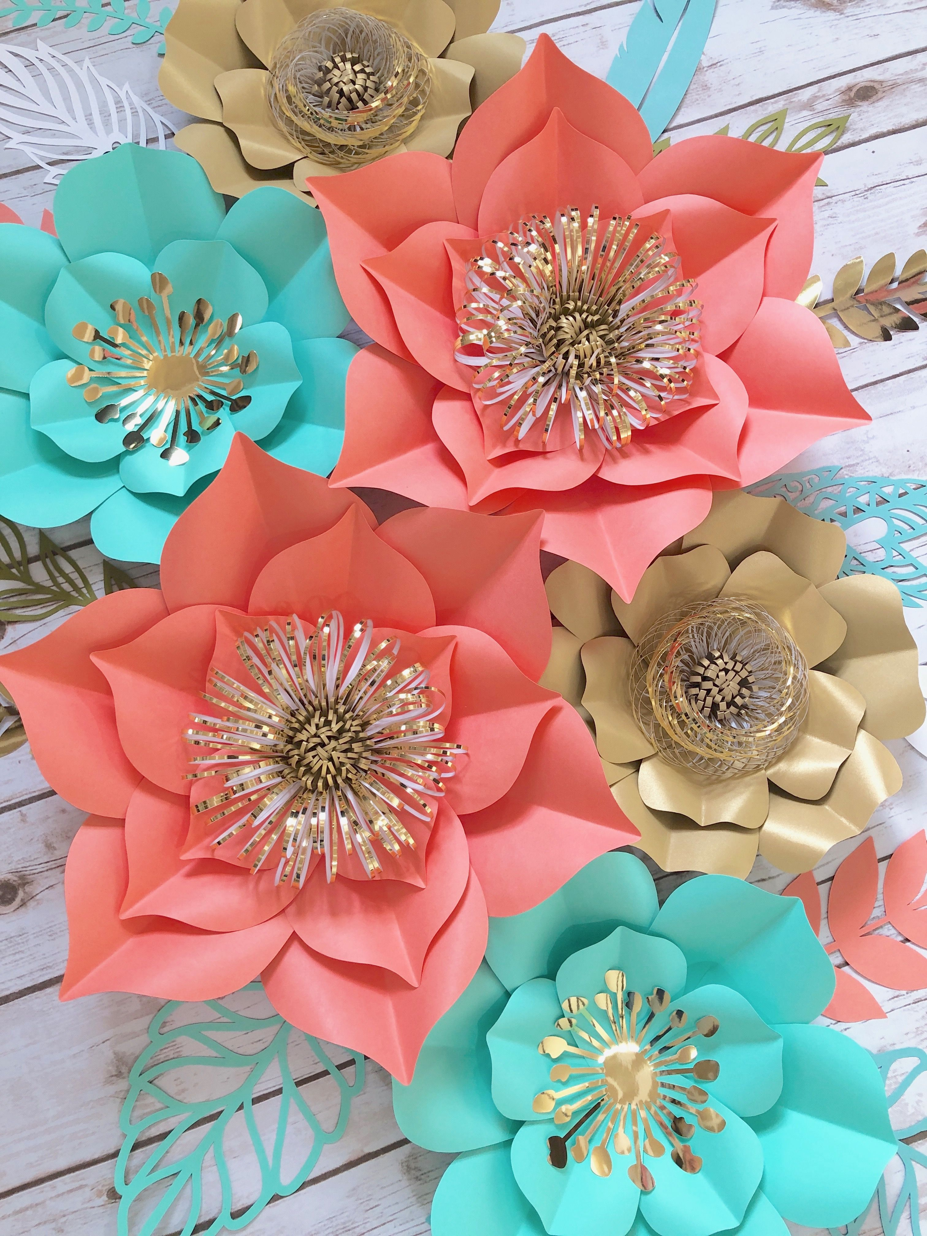 Large Paper Flowers Wall Decor Birthday Party Flower Decor Gold