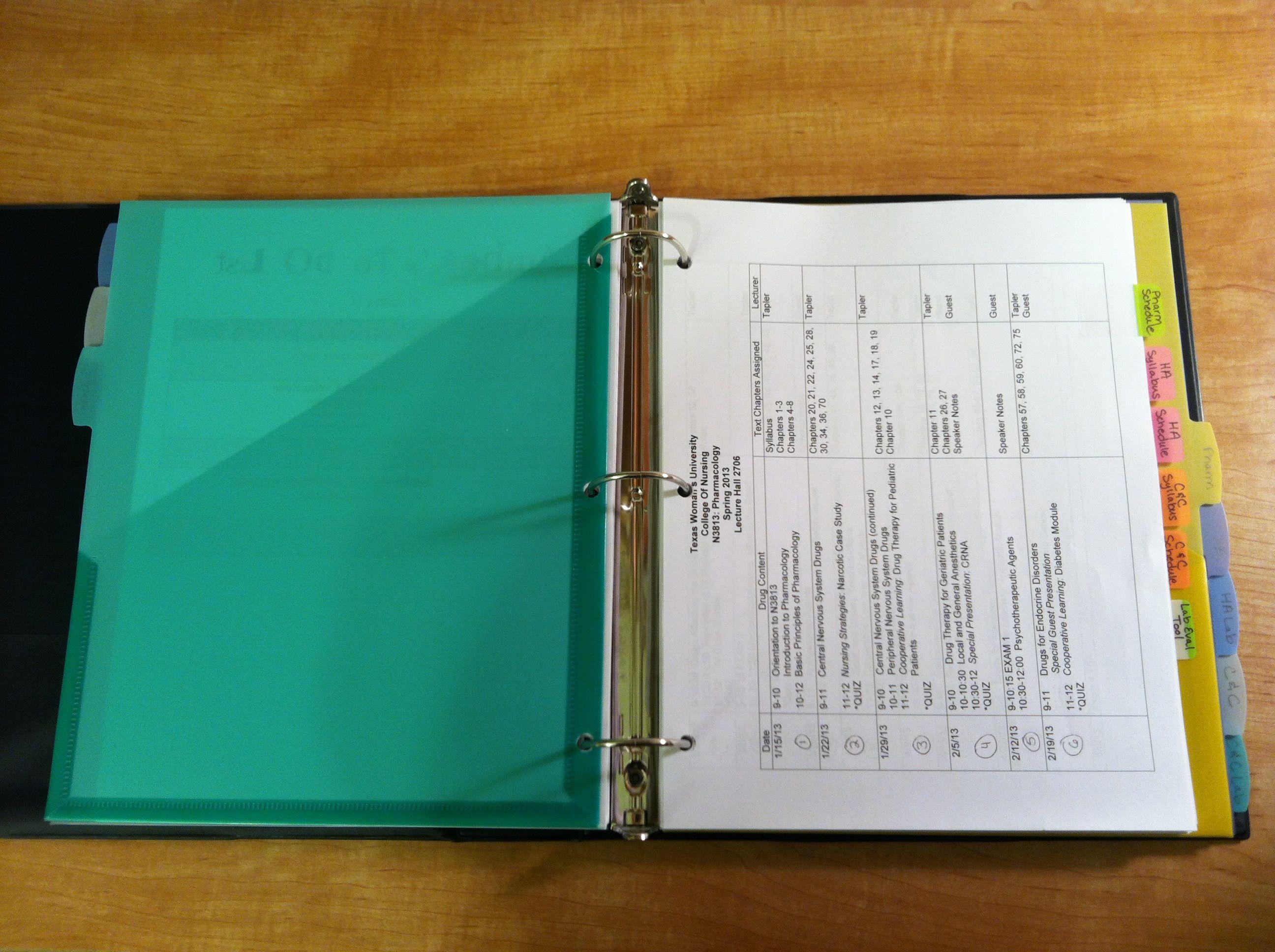 Organizing for Nursing School | {college • year • 2 ... Organized Student Binder