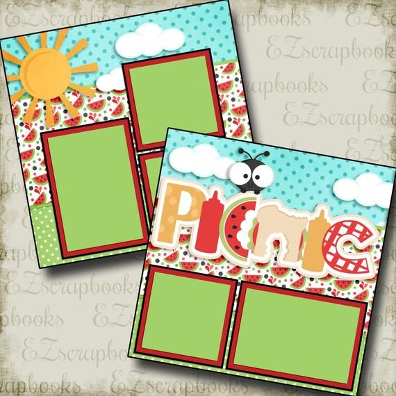 Picnic - 2 Premade Scrapbook Pages - EZ Layout 321