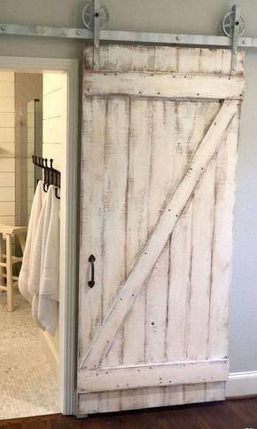 Shabby Chic Z Sliding Barn Door, White Barn Door