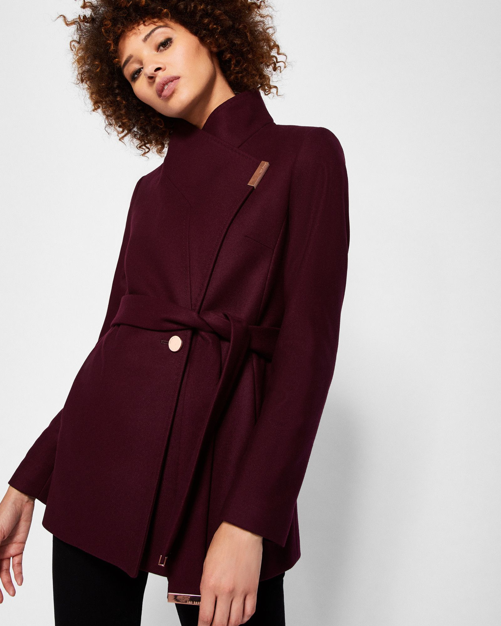 6ab5f3cbd Short wrap cashmere-blend coat - Maroon