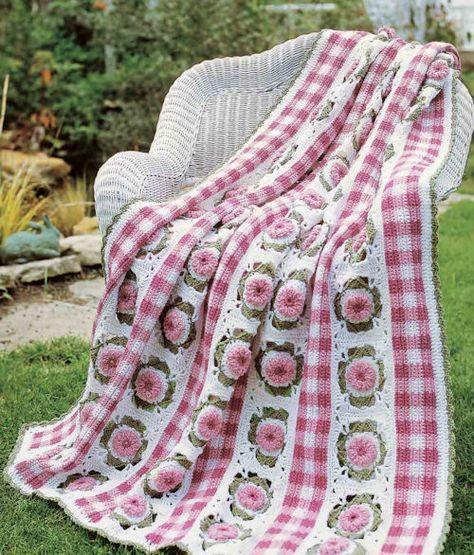 Free Crochet Pattern: Gingham Garden Afghan | crochet | Pinterest ...