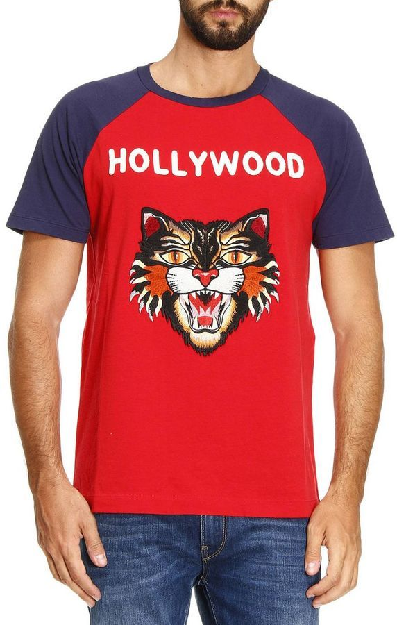 ed0bc760f30a Gucci T-shirt Pure Cotton T-shirt With Angry Cat Maxi Patch And Hollywood  Writing