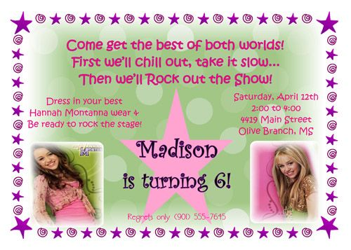 Hannah Montana Invitation Doing This For My Next Party Never