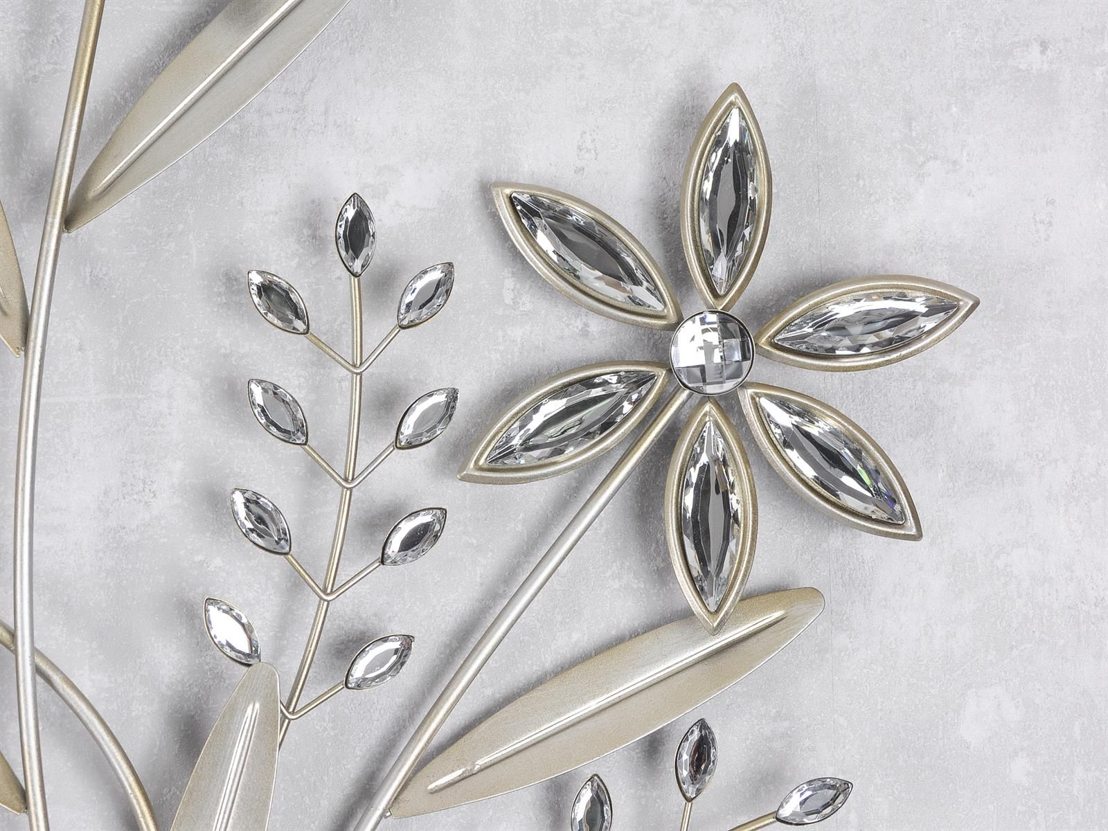 Wand Deko Blume Ii Blumenzweige Aus Metall Mit Acryl Höhe 68cm