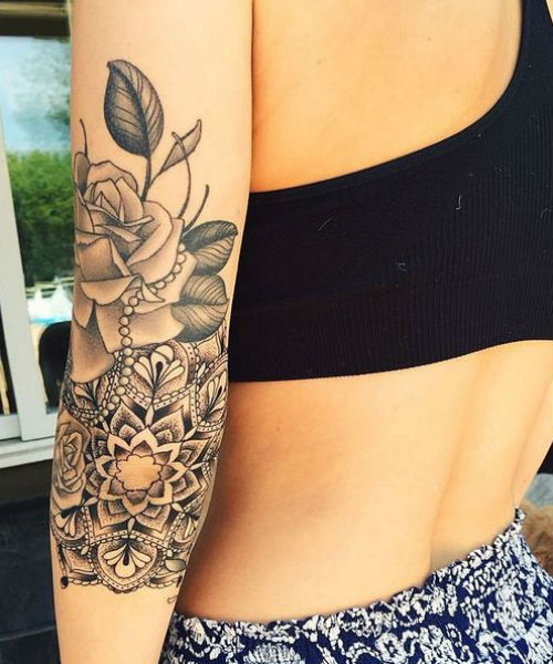 Inspiring Mandala On Elbow And Rose Tattoos For Girls To Try Now Weekly Styles Mandala Tattoo In 2020 Mandala Tattoo Neck Rose Tattoos For Girls Elbow Tattoos