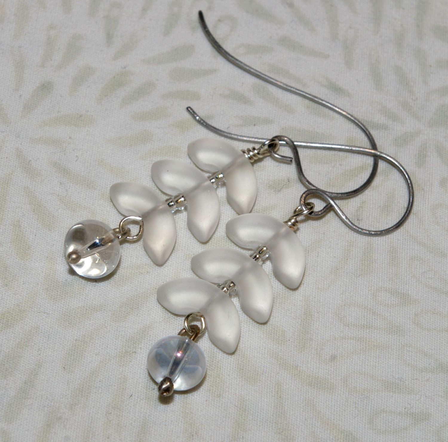 Frosted, White Glass Earrings, Silver, Wire Wrapped, Stacked Glass ...
