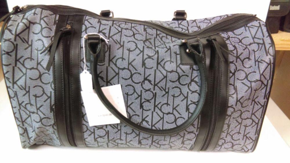 CALVIN KLEIN Monogram Signature Duffle Bag Luggage Brown Red Dark Pink MSRP $240   Travel, Luggage   eBay!