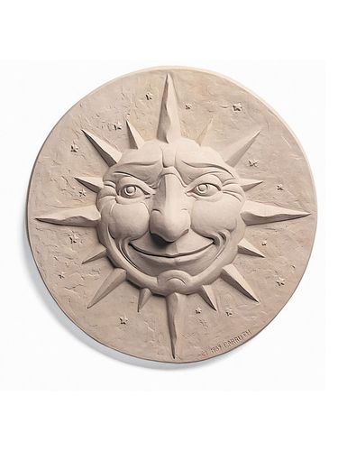 Indoor Outdoor Cast Stone Wall Plaque Carruth Studio Night Sun