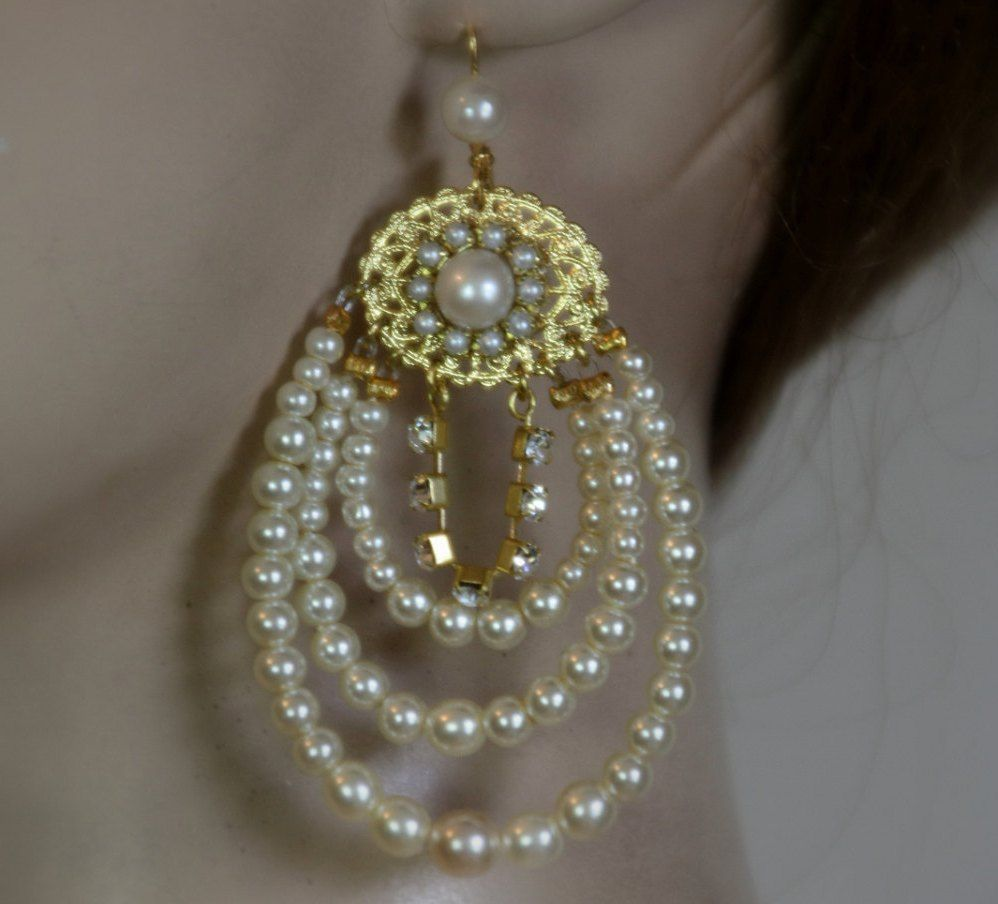 17 Best images about Pearl Earrings for Brides with Zest on – Pearl Chandelier Bridal Earrings