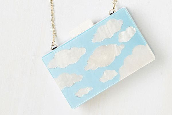 Dance the night away with this sweet, cloud inspired clutch. The rectangular shape lends the clutch a retro edge but the arty cloud pattern keeps it modern.