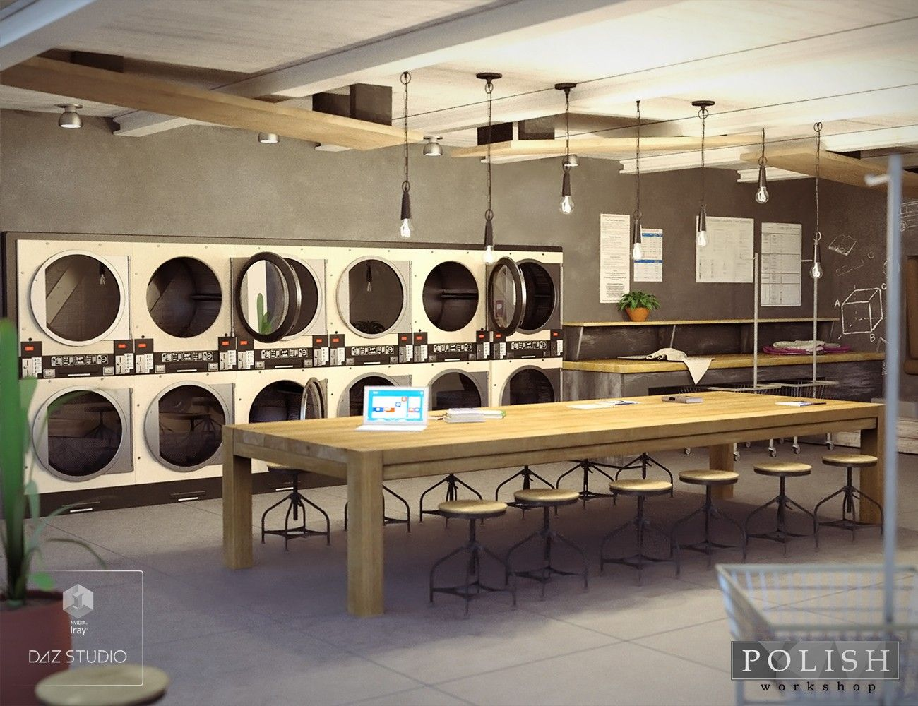Laundromat Cafe 3d Models And 3d Software By Daz 3d Laundry