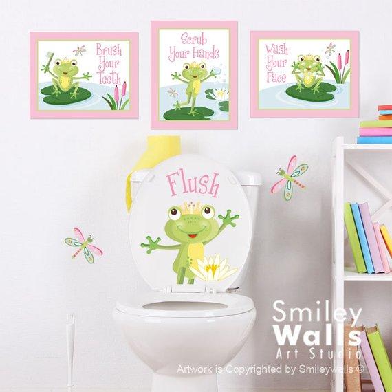 Kids Bathroom Wall Art Girls Bathroom Prints Stickers Frogs Wall